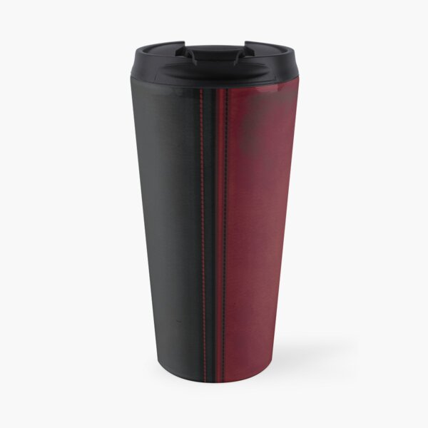Patchwork Red & Black Leather Effect Motley with Diamond Patches 4 Travel Mug