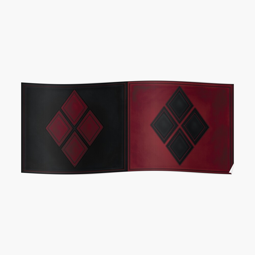 Patchwork Red & Black Leder Effekt Motley mit Diamant Patches 4 Poster