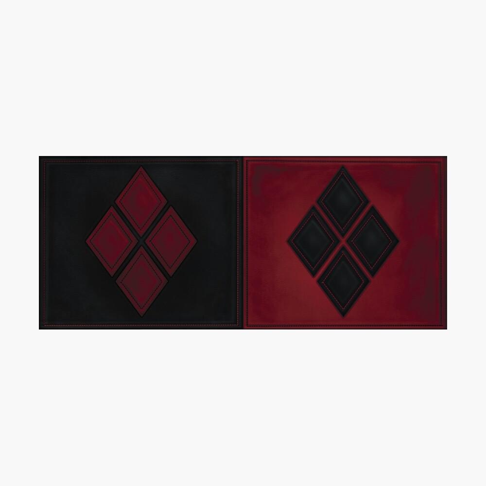 Patchwork Red & Black Leder Effekt Motley mit Diamant Patches 4 Fotodruck