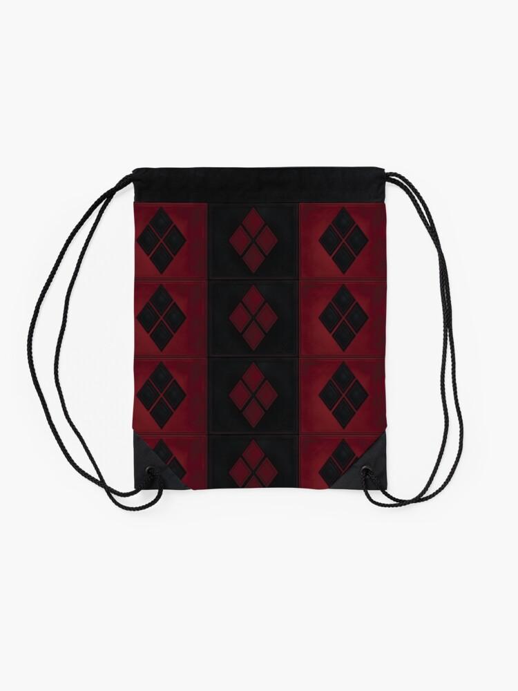 Alternative Ansicht von Patchwork Red & Black Leder Effekt Motley mit Diamant Patches 4 Turnbeutel