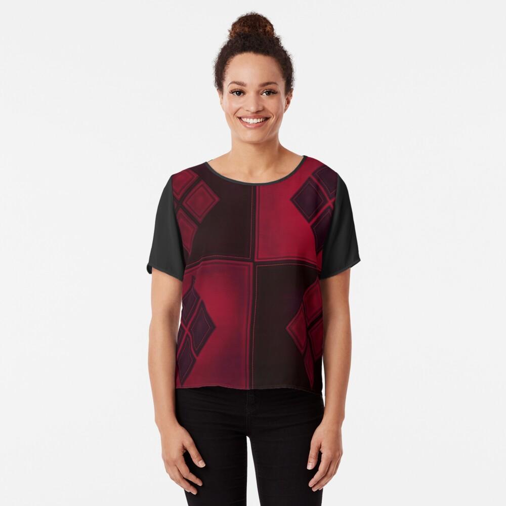 Patchwork Red & Black Leder Effekt Motley mit Diamant Patches 3 Chiffon Top