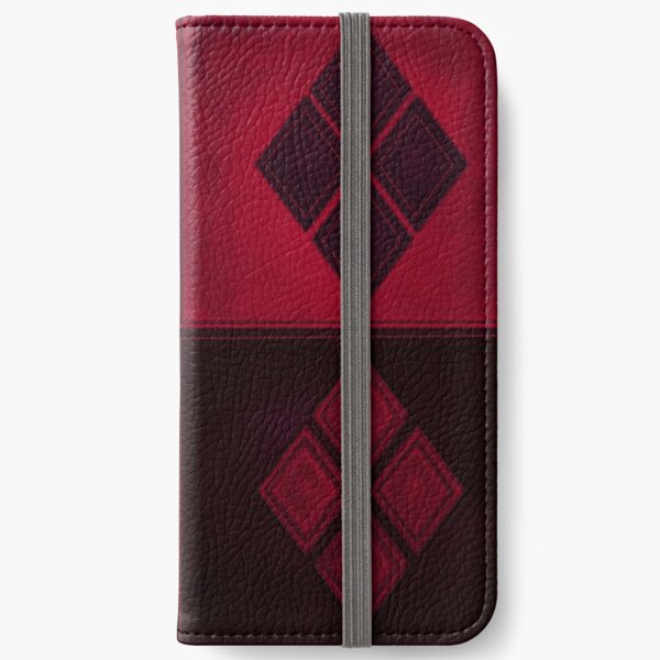 Patchwork Red & Black Leather Effect Motley with Diamond Patches 3 iPhone Wallet
