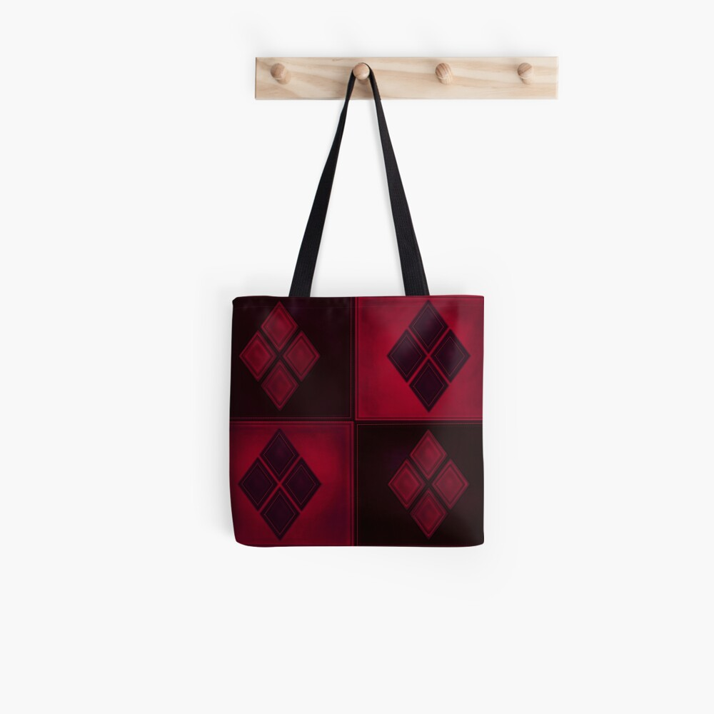 Patchwork Red & Black Leder Effekt Motley mit Diamant Patches 3 Stofftasche