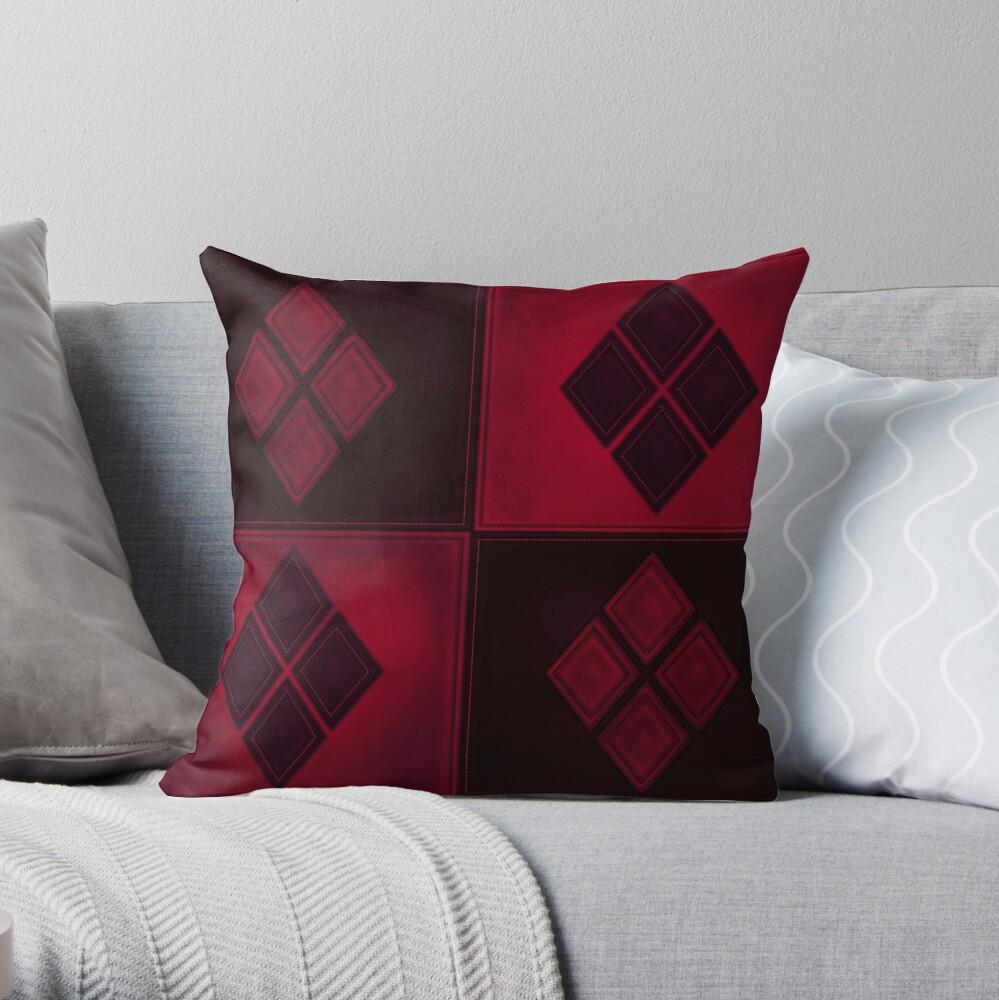 Patchwork Red & Black Leder Effekt Motley mit Diamant Patches 3 Dekokissen