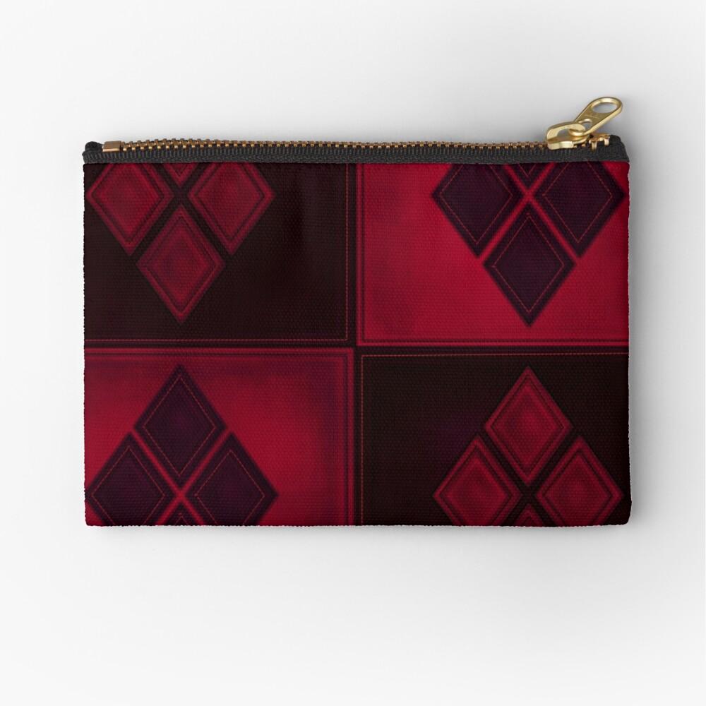 Patchwork Red & Black Leder Effekt Motley mit Diamant Patches 3 Täschchen