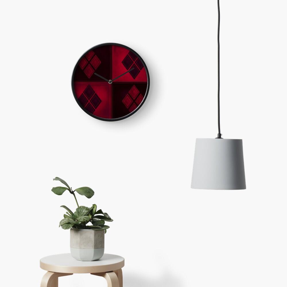 Patchwork Red & Black Leder Effekt Motley mit Diamant Patches 3 Uhr