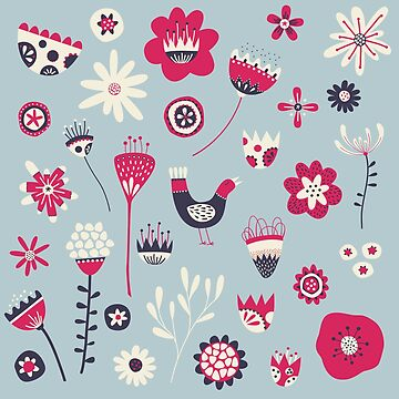 Scandi Birds and Flowers Blue by squirrell