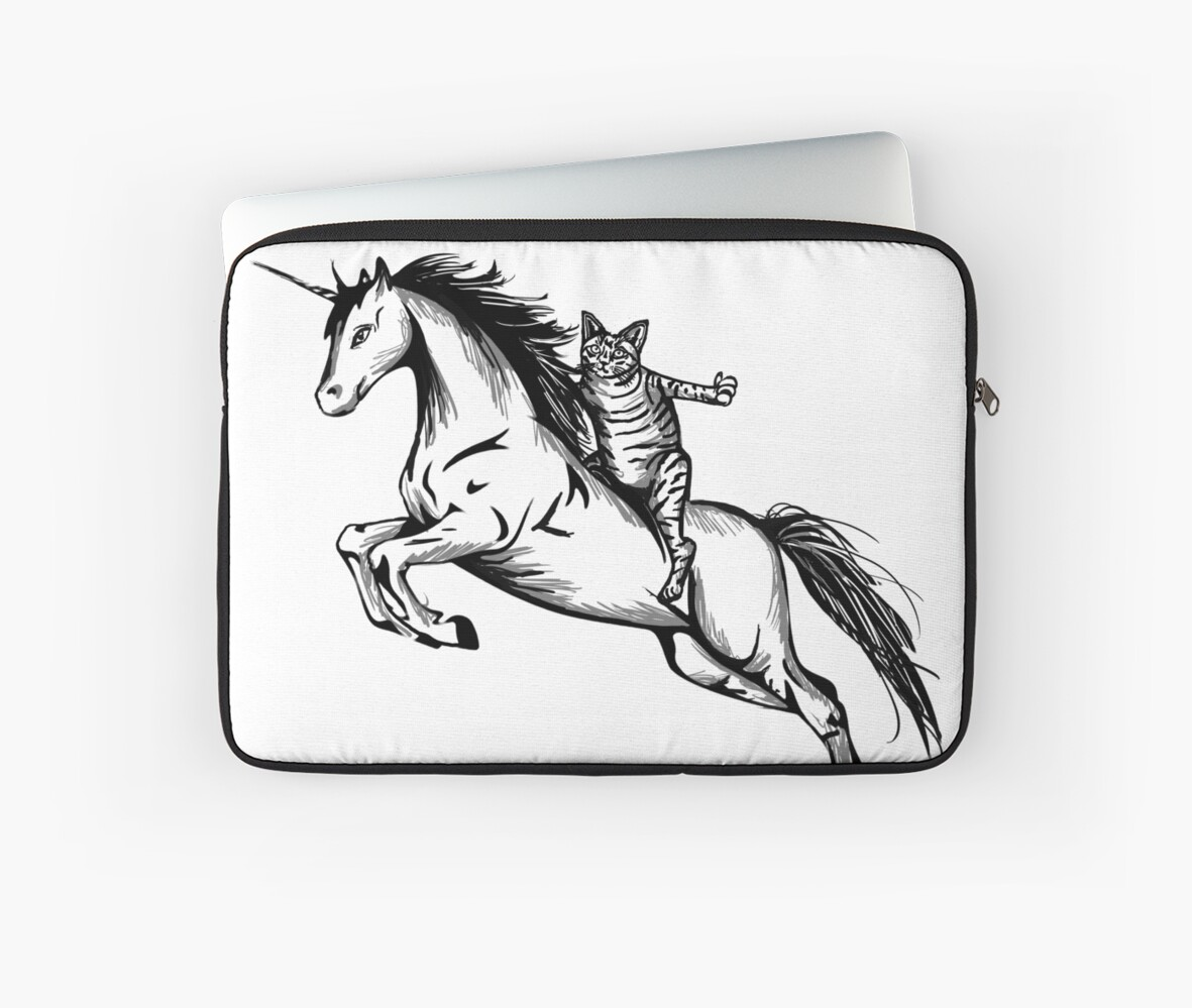 Awesome Cat Riding Unicorn Design Laptop Sleeves By Graphicrhythm