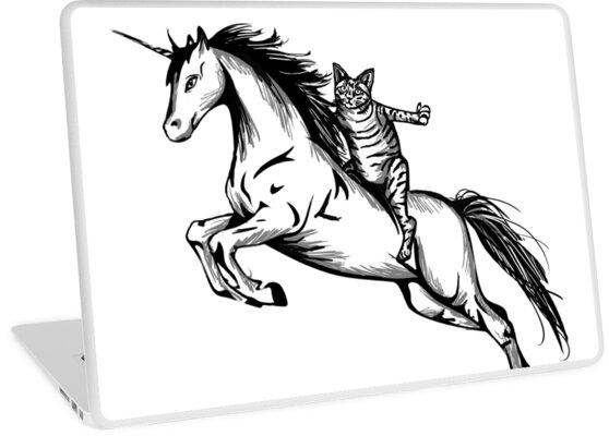 Awesome Cat Riding Unicorn Design Laptop Skins By Graphicrhythm