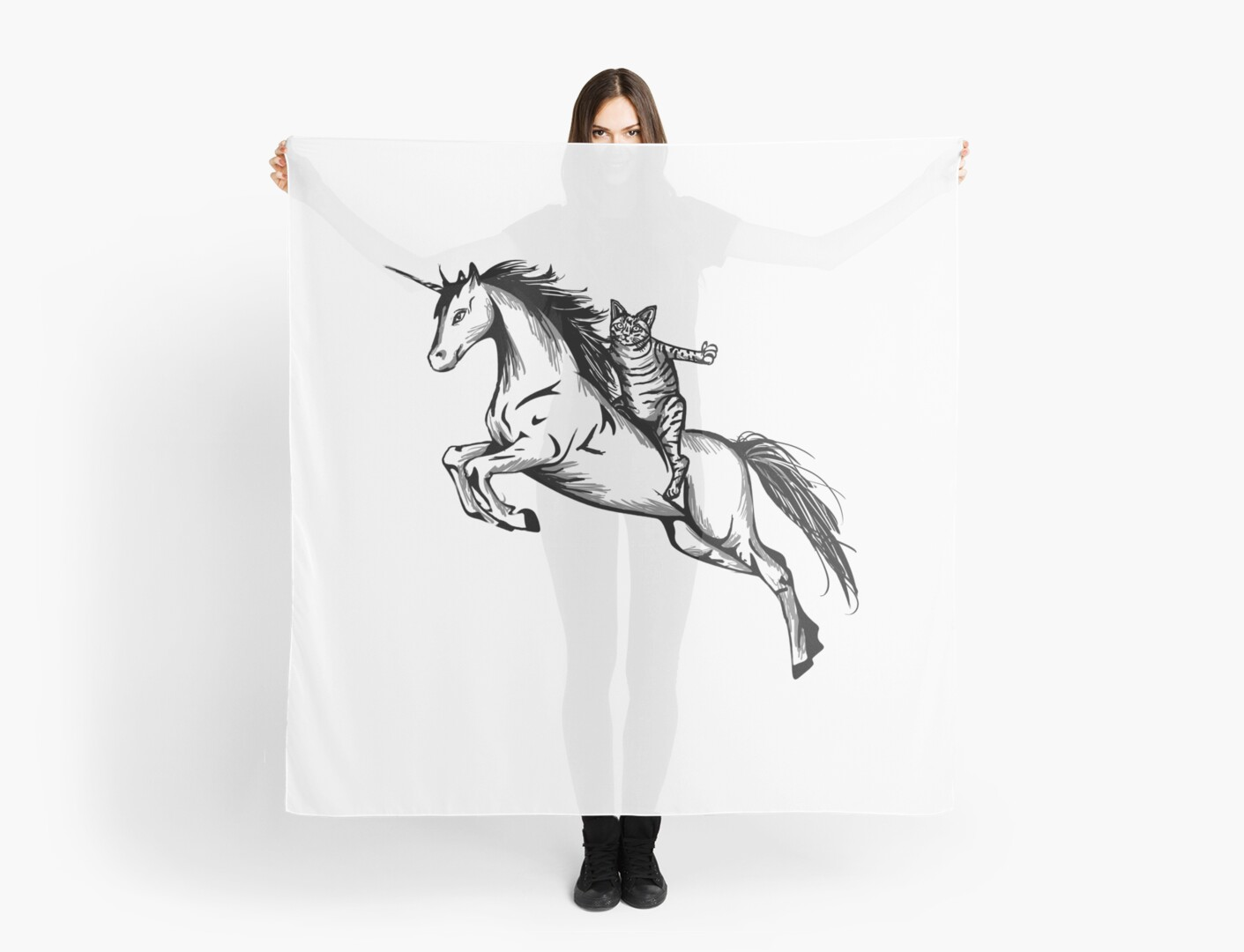 Awesome Cat Riding Unicorn Design Scarves By Graphicrhythm Redbubble