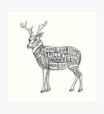 deer meat charts Art Print