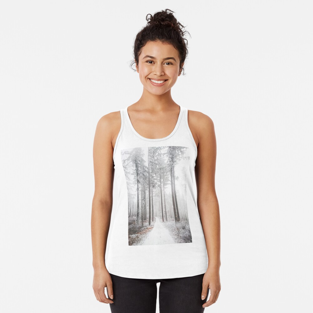 Mysterious road in a frozen foggy forest Racerback Tank Top