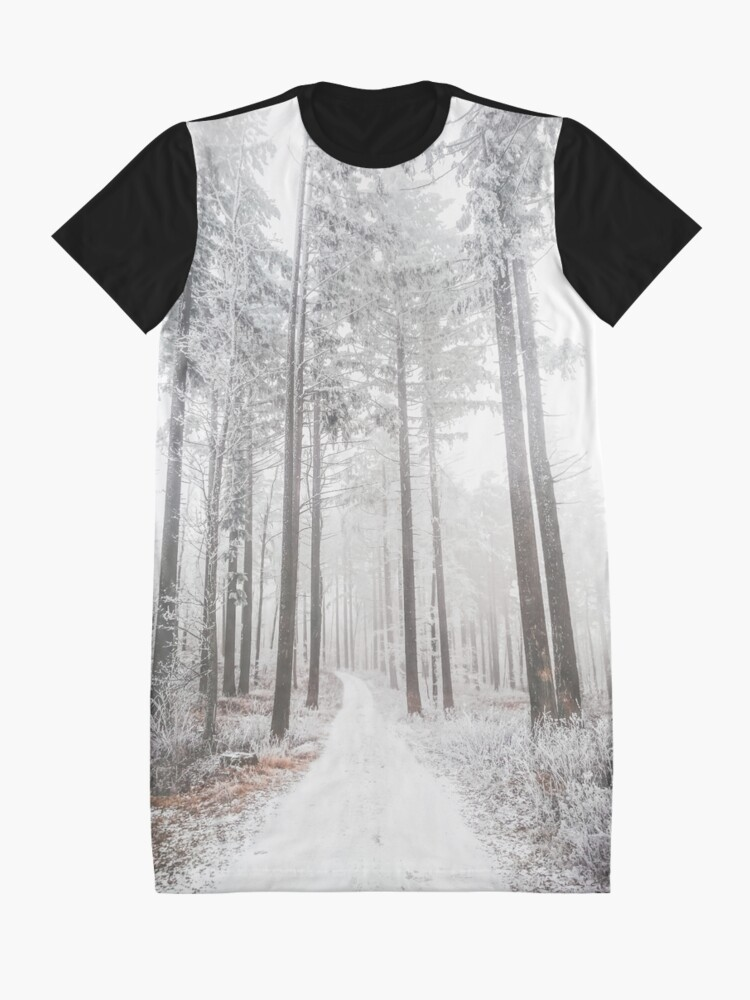 Alternate view of Mysterious road in a frozen foggy forest Graphic T-Shirt Dress