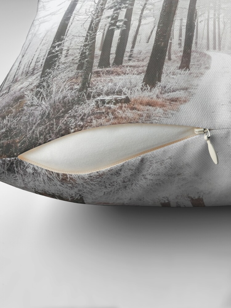 Alternate view of Mysterious road in a frozen foggy forest Throw Pillow