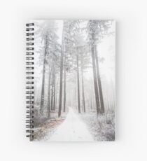Mysterious road in a frozen foggy forest Spiral Notebook