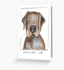 chocolate lab art, dog art, whimsical dog art Greeting Card