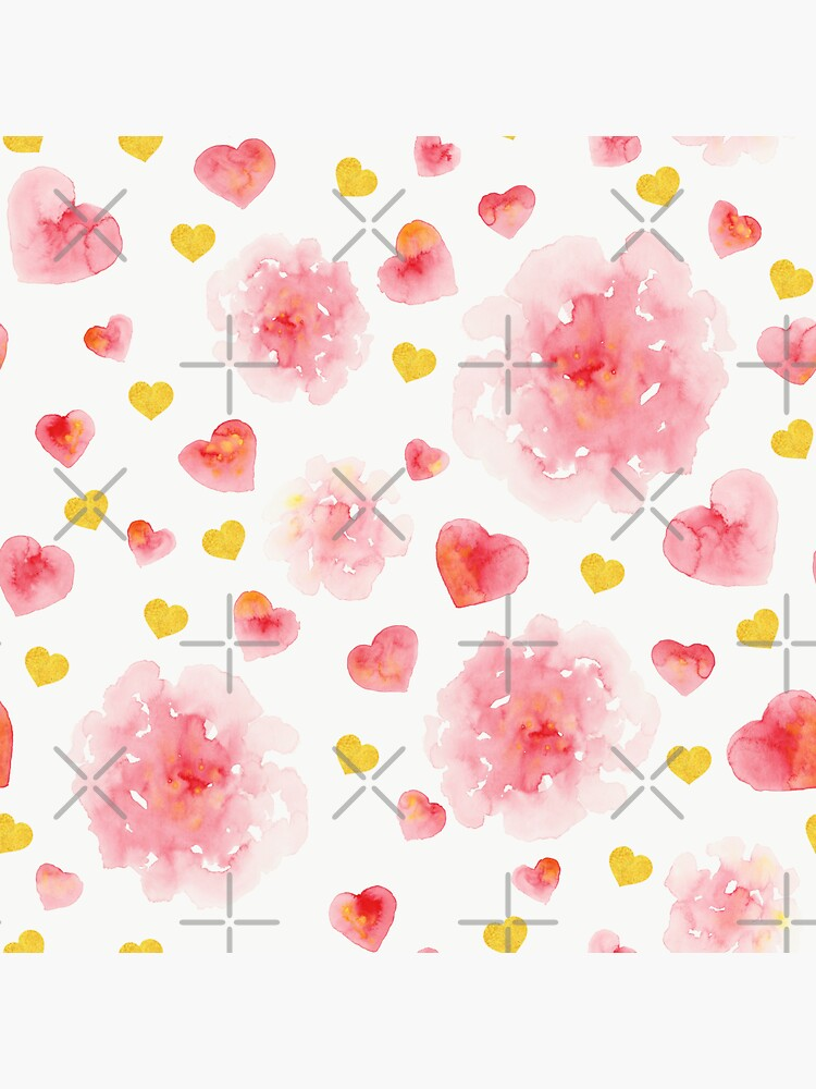 Watercolor hearts and flowers by Elenanaylor