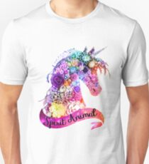 Geist Tier Unicorn Glitter Design Slim Fit T-Shirt