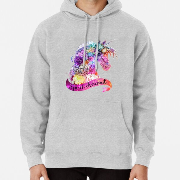 Spirit Animal Unicorn Glitter Design  Pullover Hoodie
