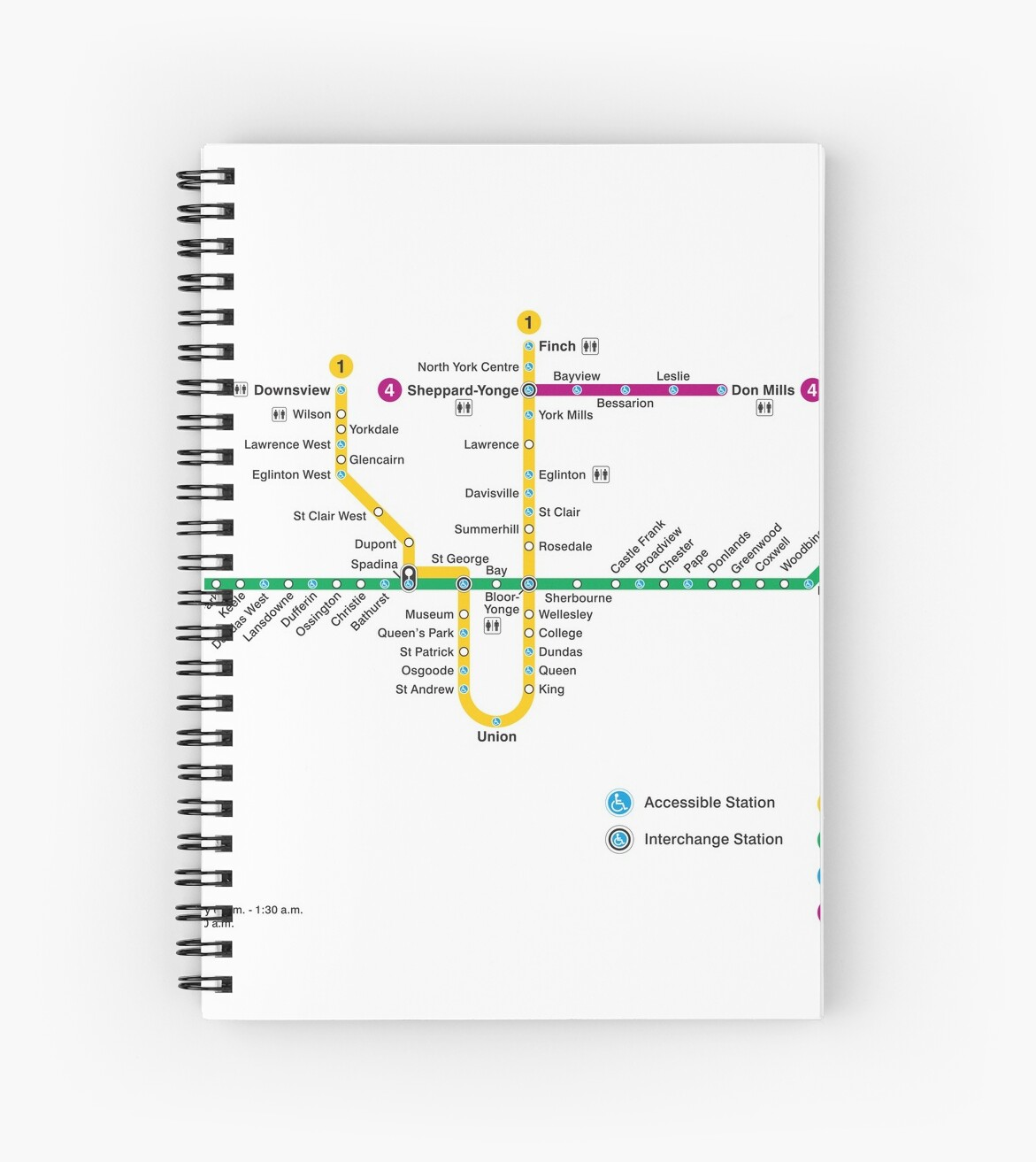 Toronto Subway Map Union Station.Toronto Subway Map Canada Spiral Notebook By Superfunky