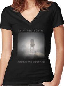 Everything is Gritty Through the Viewfinder (TtV) Women's Fitted V-Neck T-Shirt