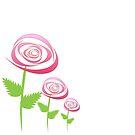 Pink Roses on white background. by ikshvaku