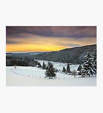 December sunrise over the mountain lake Photographic Print