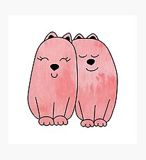 Pink watercolor couple of cats Photographic Print