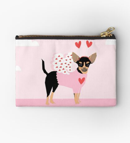 Chihuahua dog breed cupid costume dog breed valentines day chihuahuas Zipper Pouch