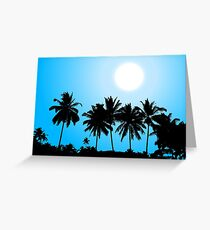 Tropical sunset, palm tree silhouette Greeting Card