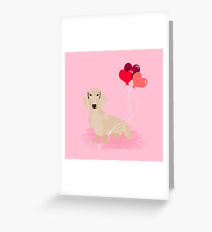 Dachshund heart balloons valentines day dog breed must have gifts dachsies  Greeting Card