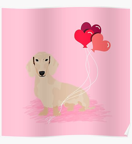 Dachshund heart balloons valentines day dog breed must have gifts dachsies  Poster