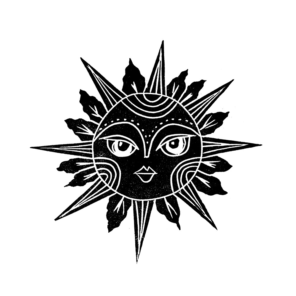 Linocut Sun Moon Face Black And White Illustration