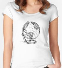 Simplistic Globe Design Women's Fitted Scoop T-Shirt