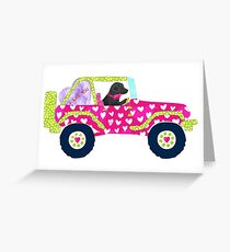 Preppy Jeep Hot Pink/Lime Hearts - Black Lab Valentine Greeting Card