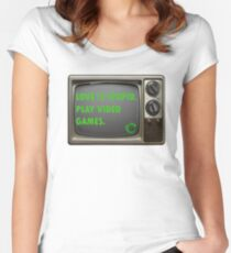 Love is Stupid, Play Video Game Funny Silly Cute Message Women's Fitted Scoop T-Shirt