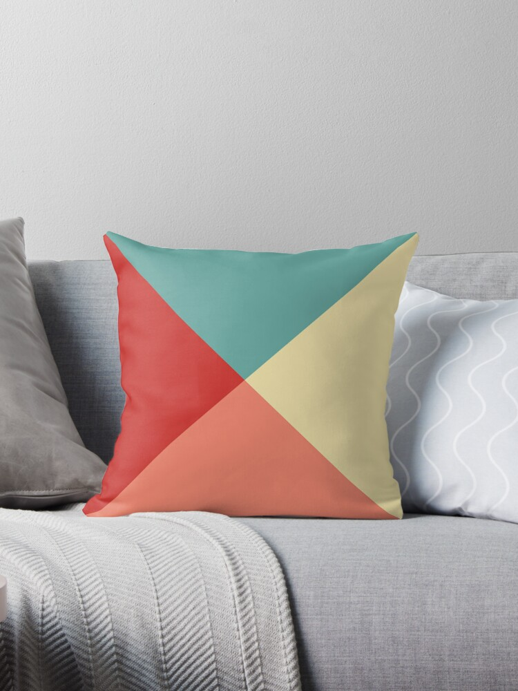 Bold Geometric Design Yellow Teal Salmon Red Throw Pillows By