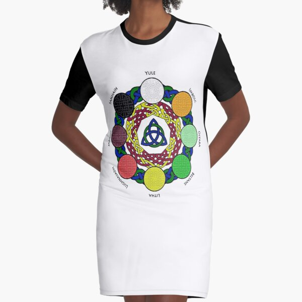 Wheel of the Year (Light version) - Witches's Sabbats Graphic T-Shirt Dress