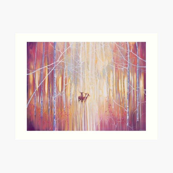 Manifestation - a winter woodland landscape with deer Art Print