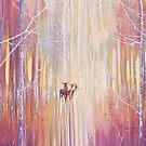 Manifestation - a winter woodland landscape with deer by Gill Bustamante