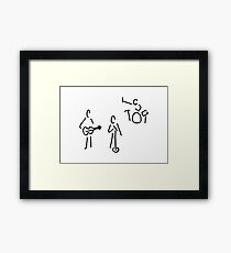 on stage with guitar and percussion Framed Print