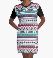 Retro Tribal Pattern Graphic T-Shirt Dress