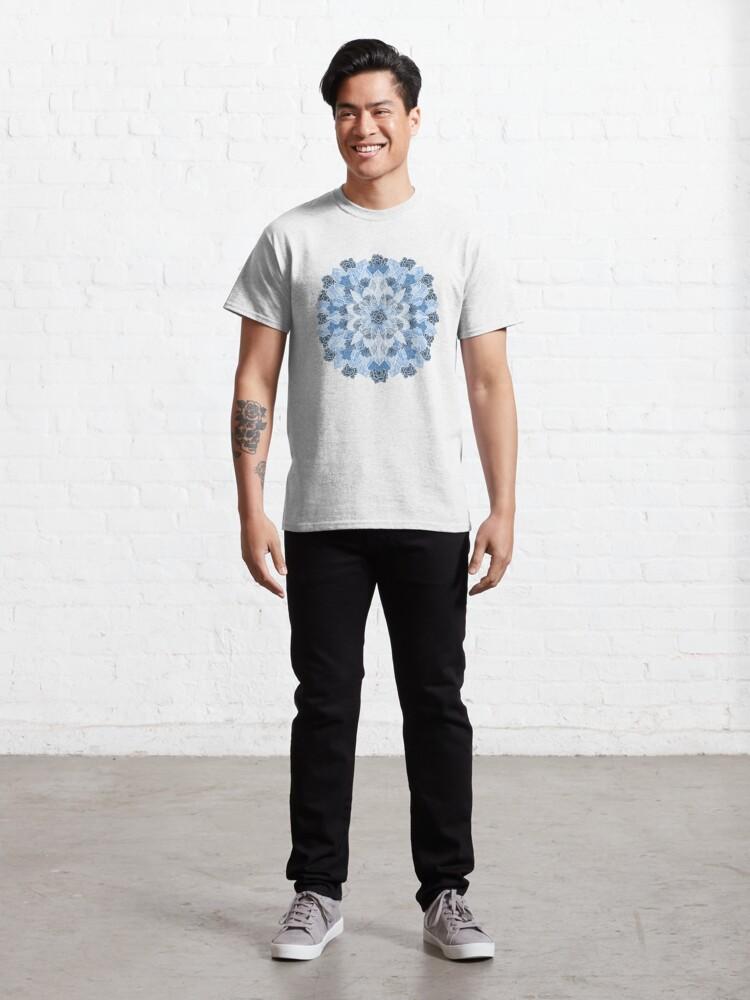 Alternate view of Crystals Succulents Mandala BLUE Classic T-Shirt