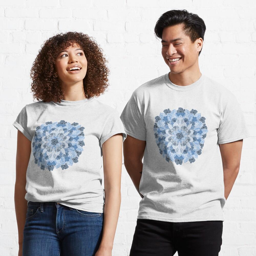 Crystals Succulents Mandala BLUE Classic T-Shirt