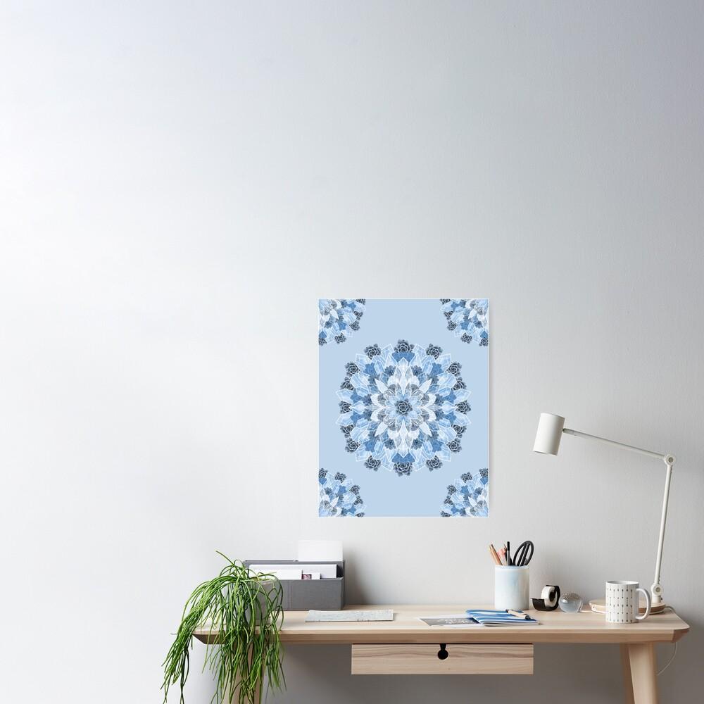 Crystals Succulents Mandala BLUE Poster