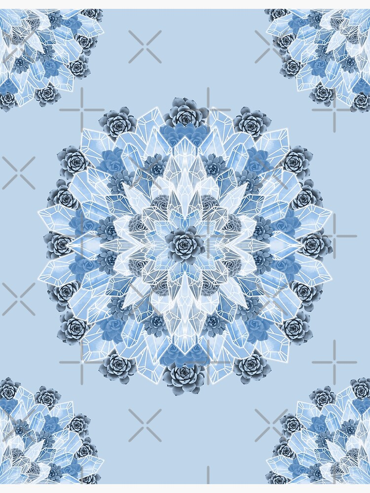 Crystals Succulents Mandala BLUE by PrintablesP