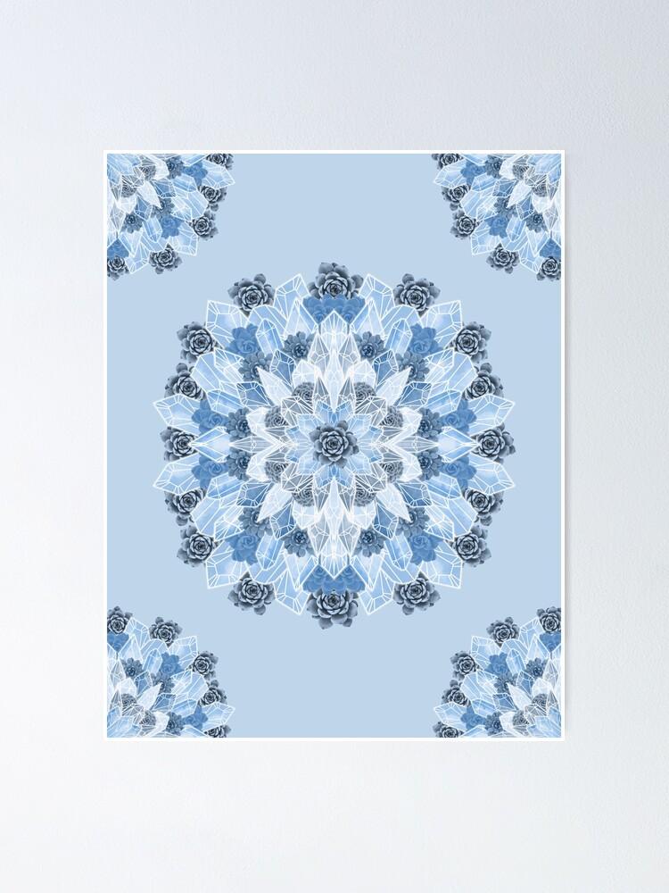 Alternate view of Crystals Succulents Mandala BLUE Poster