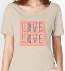 Cute and funny hand drawn typography love design with pandas  Women's Relaxed Fit T-Shirt