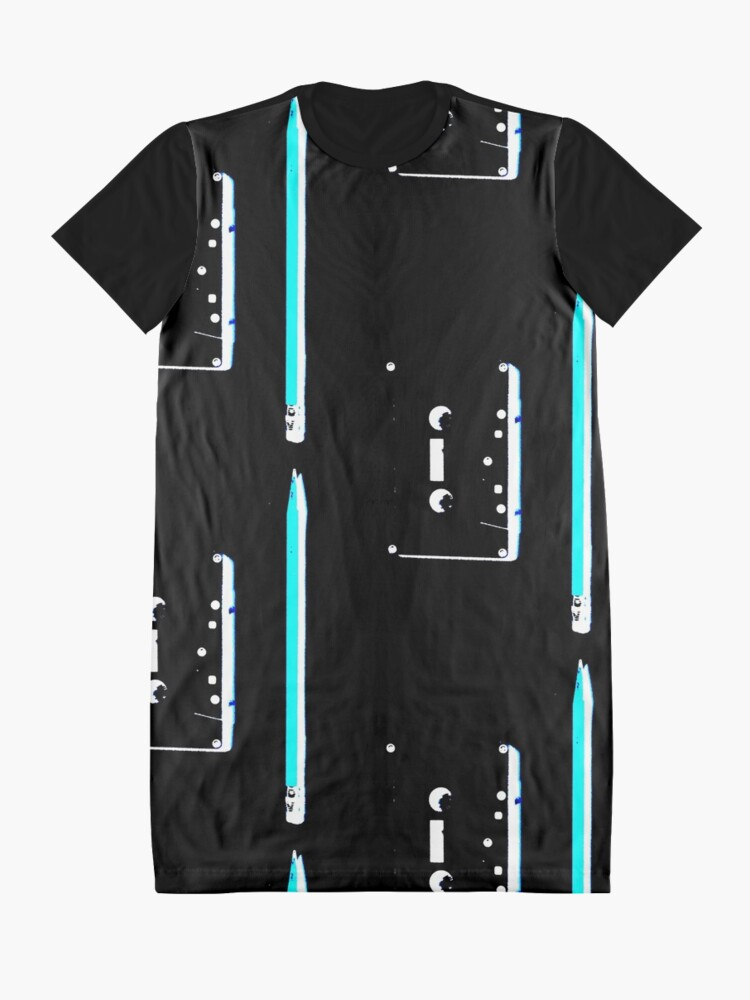 Alternate view of tape and pencil 80s vaporwave Graphic T-Shirt Dress