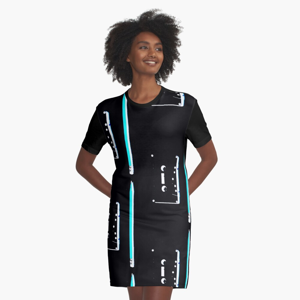 tape and pencil 80s vaporwave Graphic T-Shirt Dress